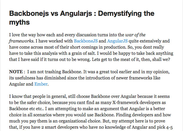 Demystifying the myths of Angular vs Backbone.