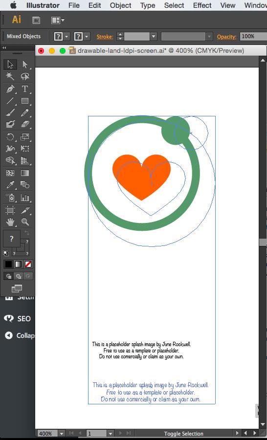 Resizing the splash image art on Illustrator