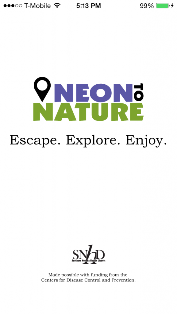 Neon To Nature mobile app loading image screen