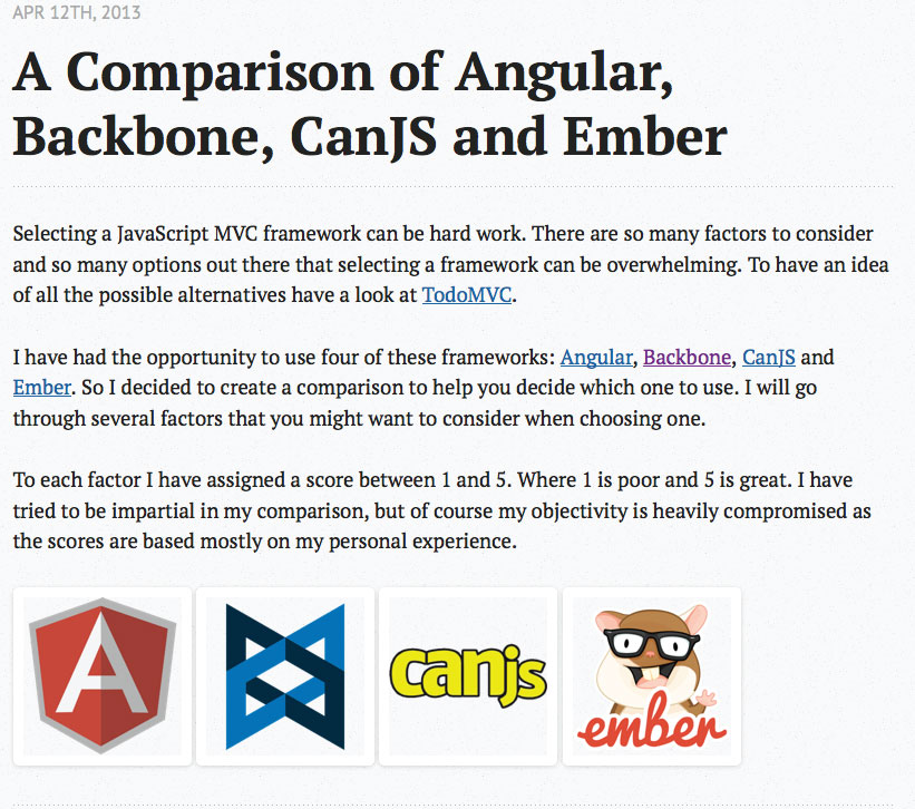 Comparing Angular, Backbone, and Ember plus CanJS!
