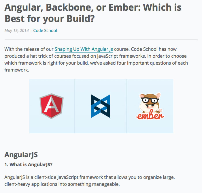 Code school explains Backbone, Angular and Ember. Which is best for you?