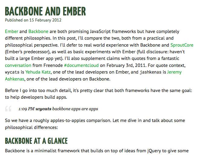 Backbone and Ember.