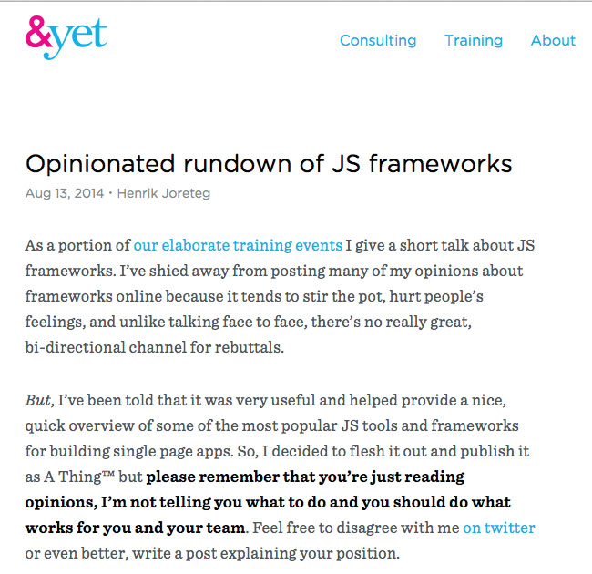 Opinionated Rundown of JS Frameworks