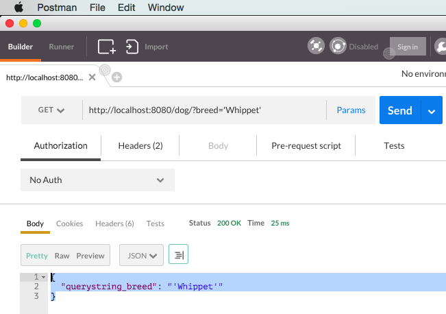 Using POSTMAN to get query string