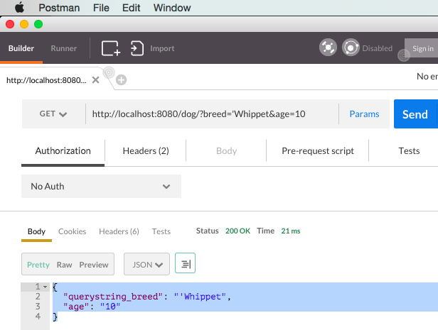 Using POSTMAN to get two query strings in express.js and node.js