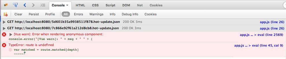 VueRouter route is undefined error. Basic Vue-Router 2 SPA