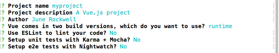 Choose No for all unit testing, Karma, mocha and eslint to make things simplier Basic Vue-Router 2 SPA